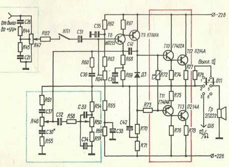 ...(не более 0,2 в) показаниям лампового вольтметра на эквиваленте громкоговорителя (Ra = 12,5 ом ) в режиме...