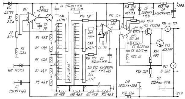 Схема универсального источника тока ИОН выполнен на высокоточном ОУ DA1 и транзисторе VT1.
